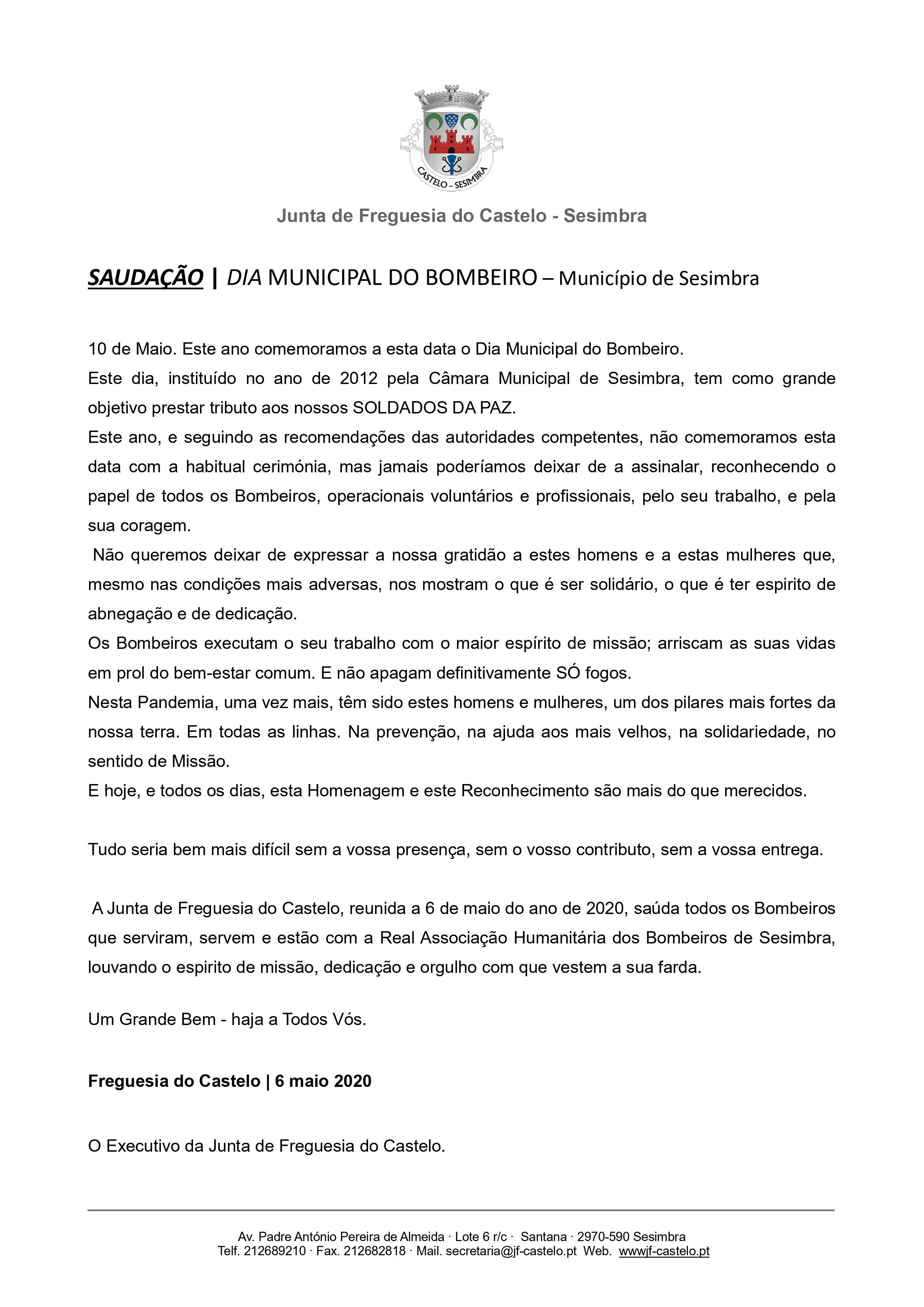 10 maio   DIA MUNICIPAL DO BOMBEIRO