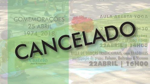 Comemorações 25 abril | Cancelamento