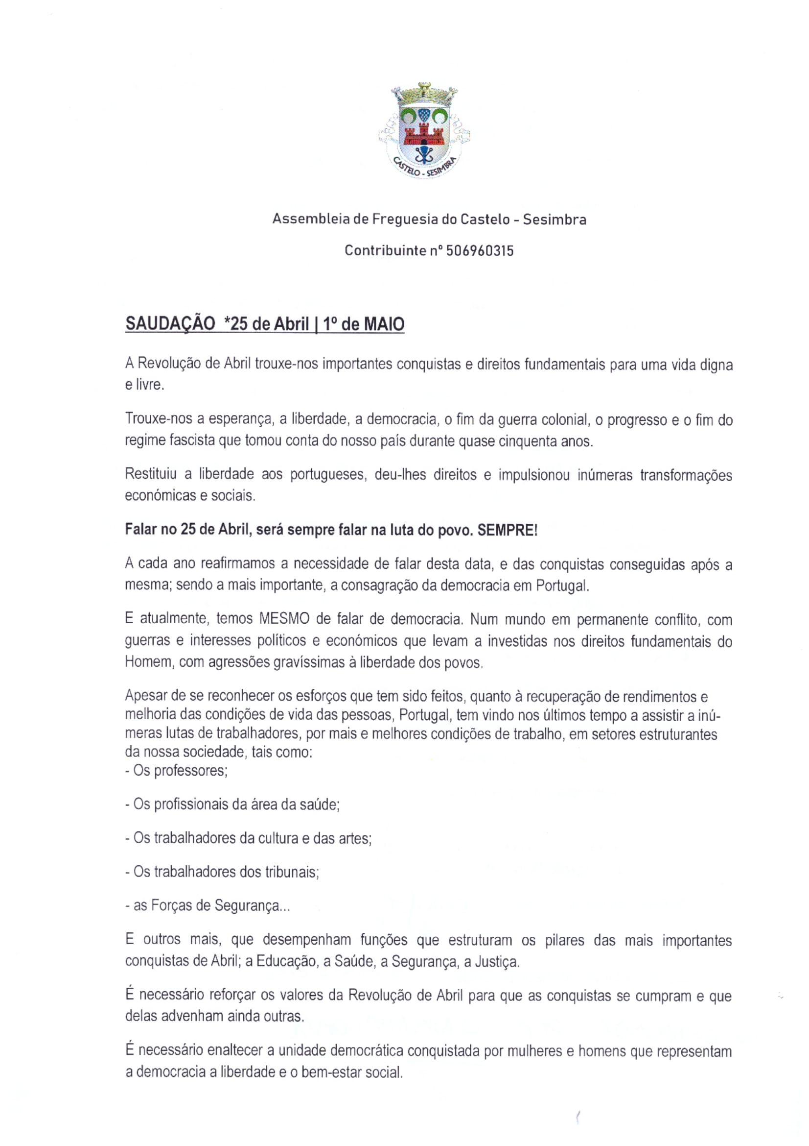 Assembleia de Freguesia do Castelo | 18 abril 2019
