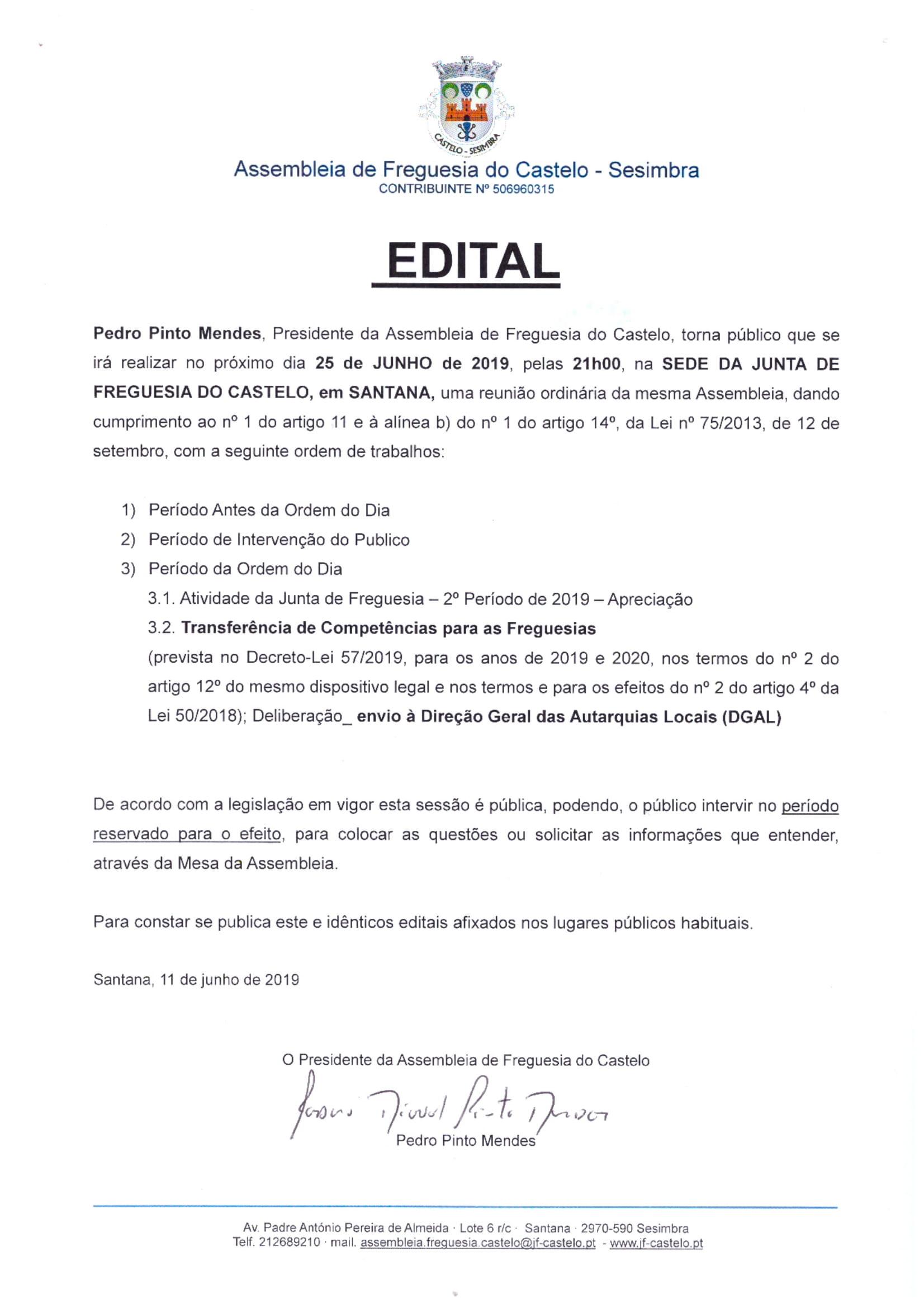 Assembleia de Freguesia | 25 junho 2019