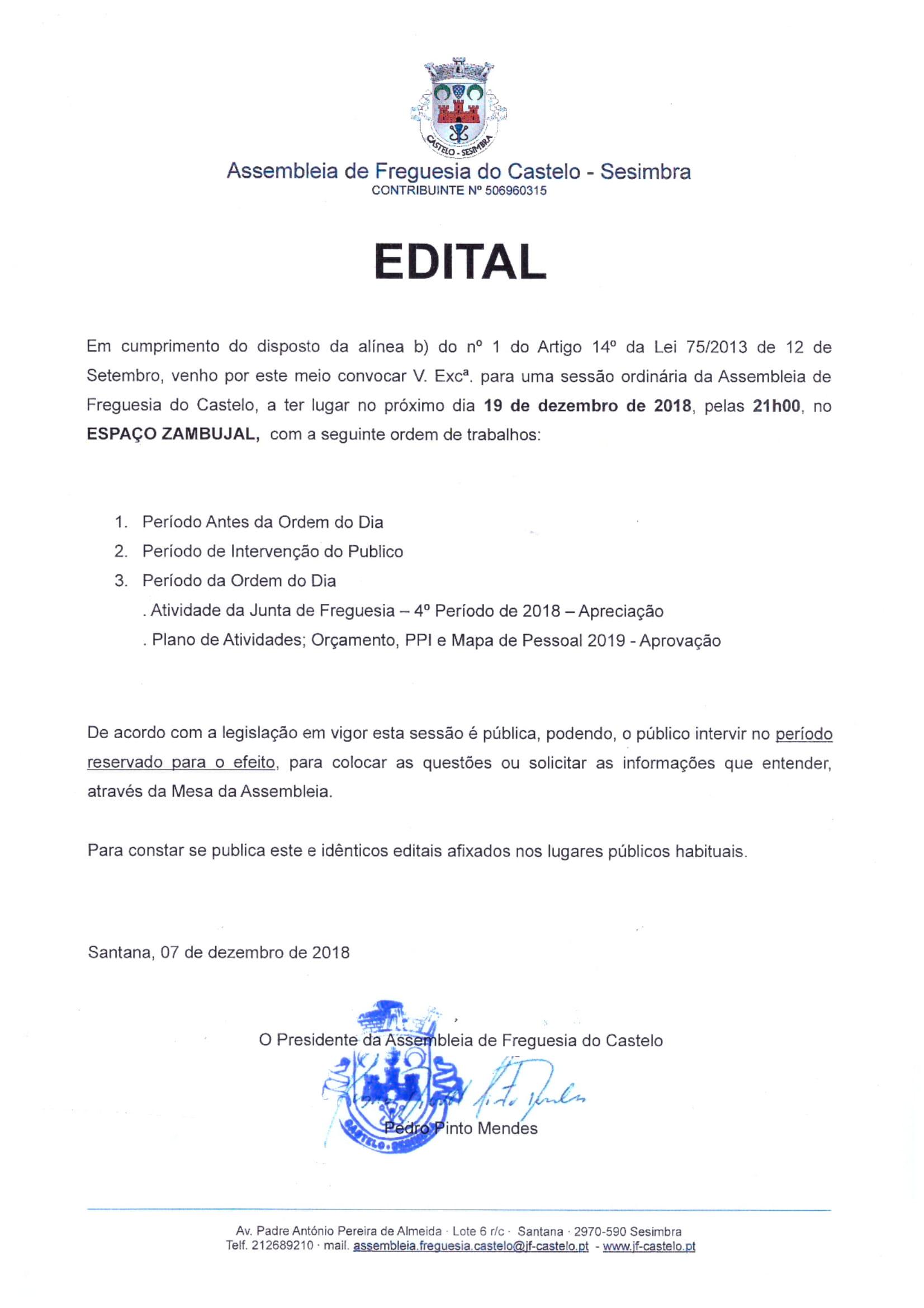 Assembleia de Freguesia | 19 Dezembro