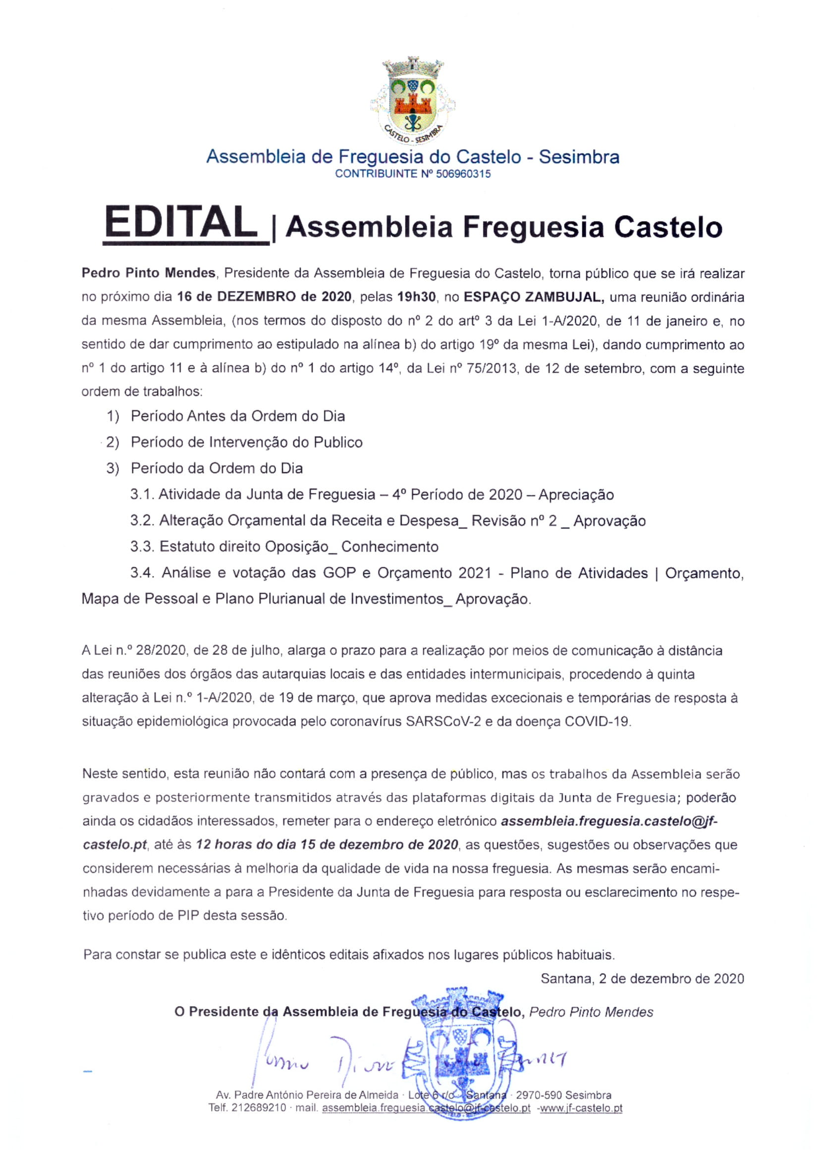 Assembleia de Freguesia | 16 DEZEMBRO | Espaço Zambujal