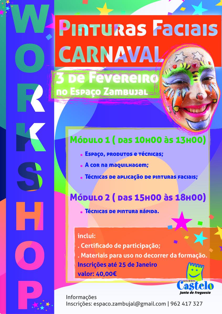 Workshop Pinturas Faciais * Especial CARNAVAL