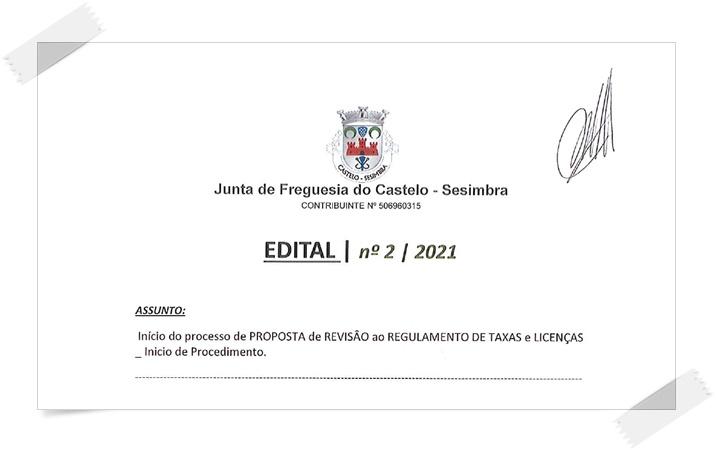 Início do processo de PROPOSTA de REVISÃO ao REGULAMENTO DE TAXAS e LICENÇAS _ Inicio de Procedimento.