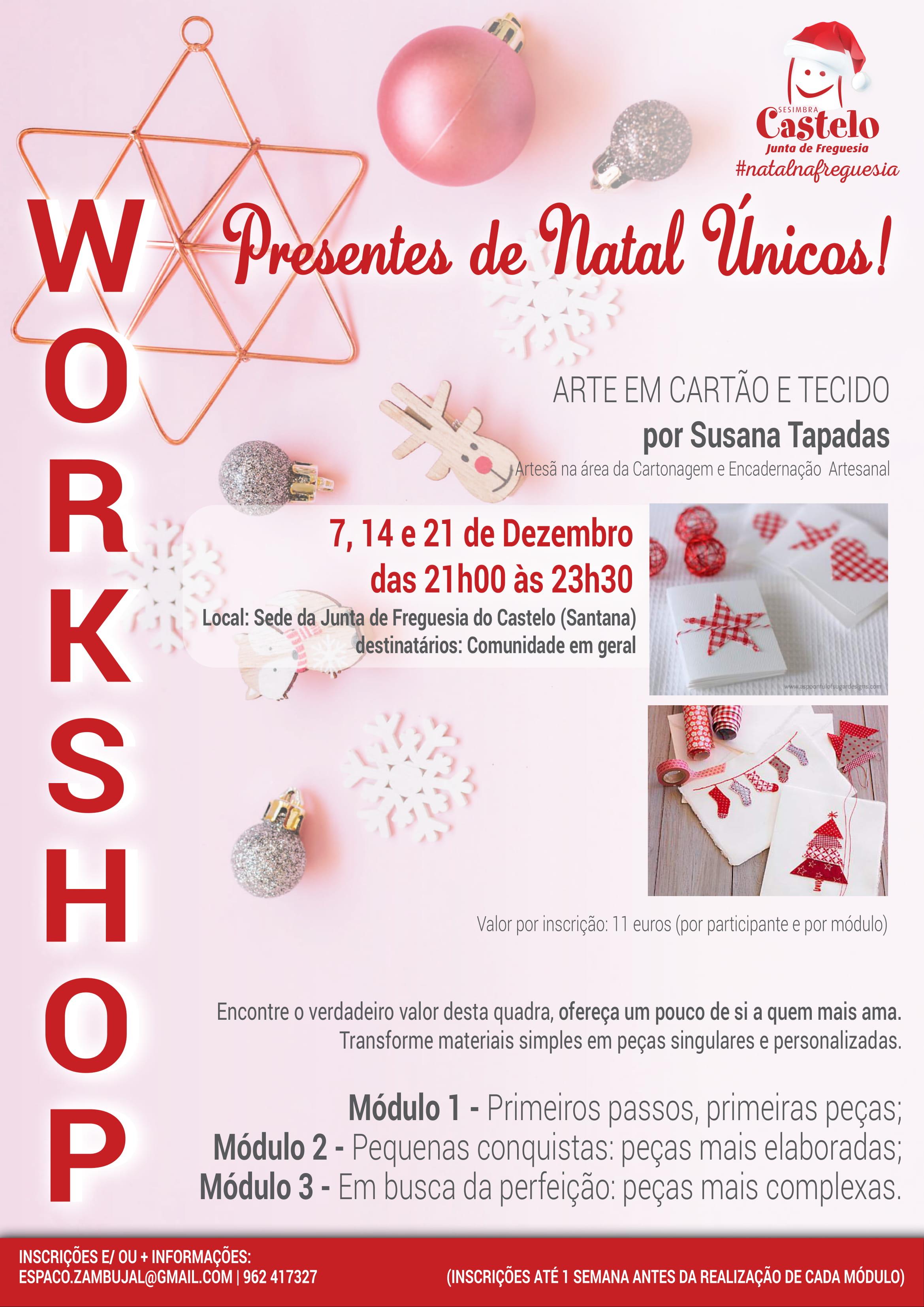 Workshop  Arte em Cartão e Tecido: Presentes de Natal Únicos!