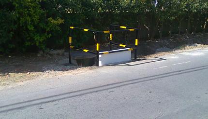 Colocação de protecção na via pública