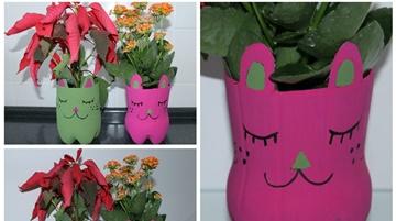 Oficina de Expressão Plástica | Vaso de plantas com garrafa PET